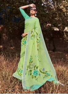 Green Printed Cotton Silk Saree