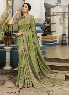 Green Printed Silk Traditional Designer Saree