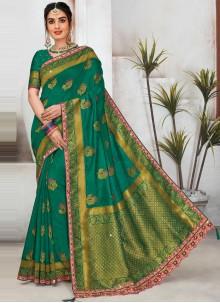 Green Raw Silk Designer Saree