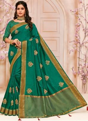 Green Raw Silk Festival Designer Traditional Saree