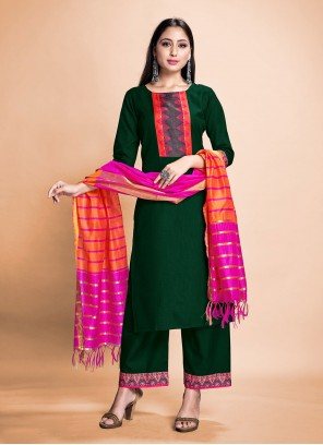 Green Rayon Festival Pant Style Suit