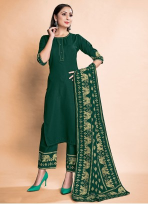 Green Rayon Pant Style Suit