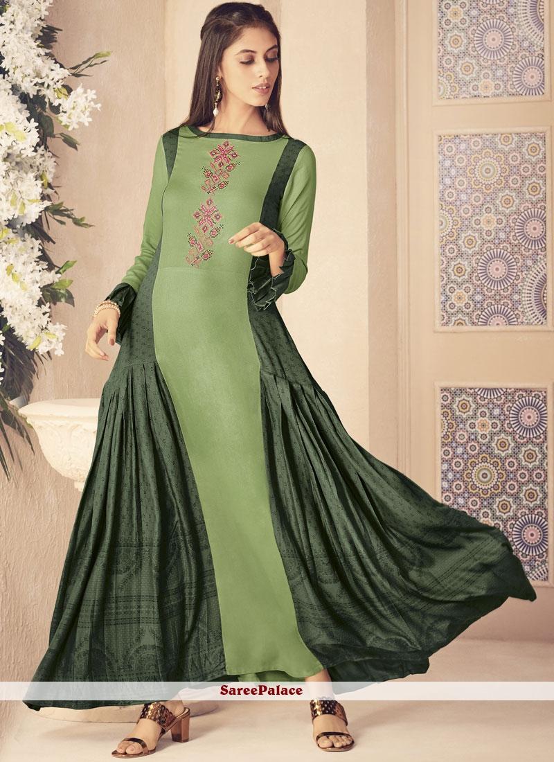 a19537a244 Buy Green Rayon Party Wear Kurti Online