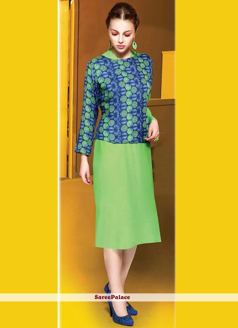 Green Rayon Party Wear Kurti