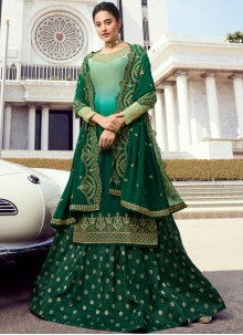 Green Reception Faux Georgette Palazzo Salwar Suit