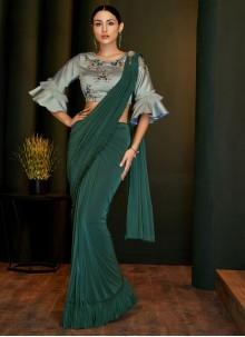 Green Reception Lycra Classic Designer Saree