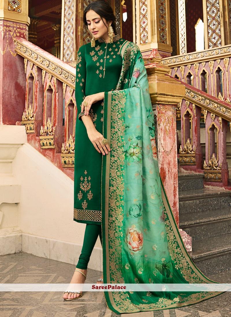 Green Reception Silk Designer Salwar Suit