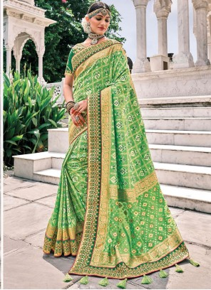 Green Embroidered Reception Trendy Saree
