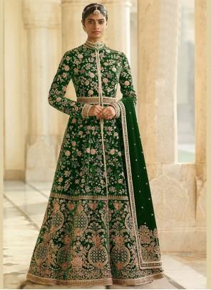 Green Reception Velvet Anarkali Suit