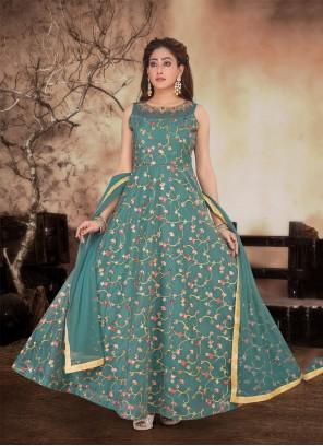 Green Resham Anarkali Salwar Kameez