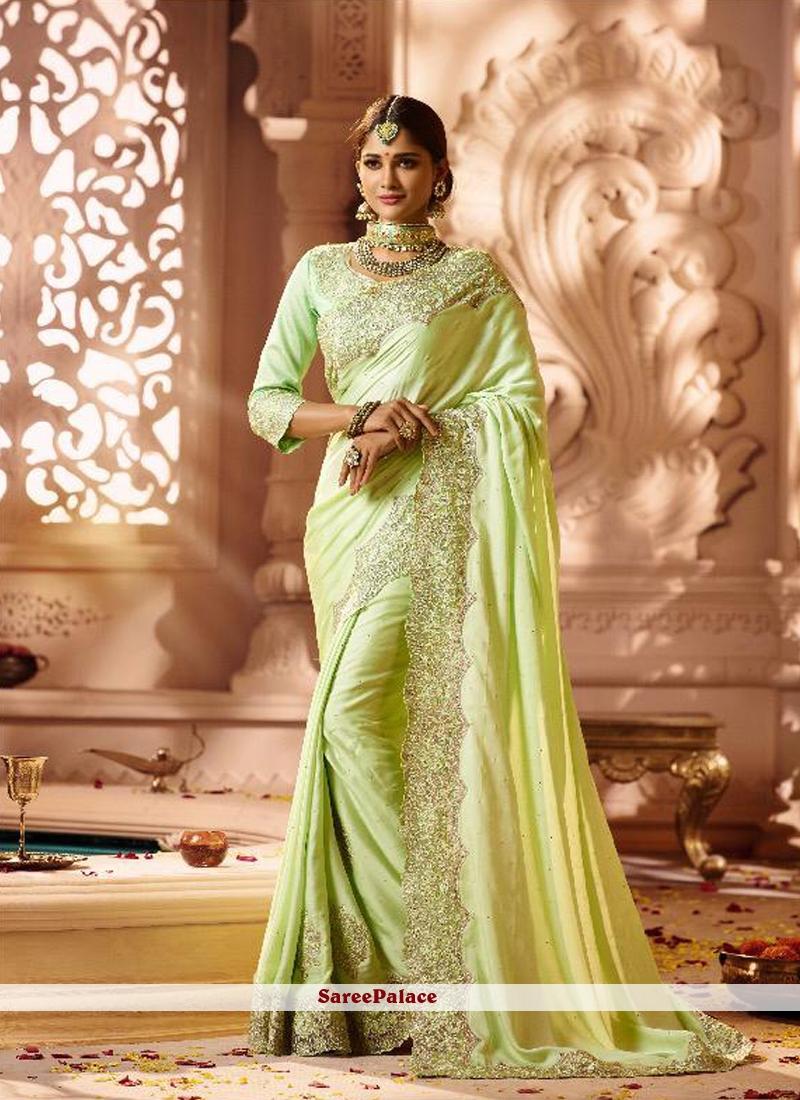 Green Resham Bridal Classic Designer Saree