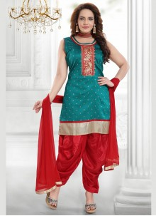 Green Resham Designer Salwar Suit