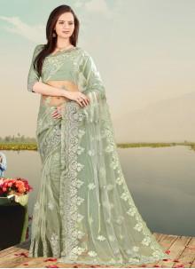Green Resham Embroidered Net Designer Saree