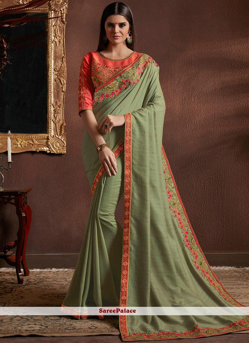 Green Resham Faux Georgette Classic Designer Saree