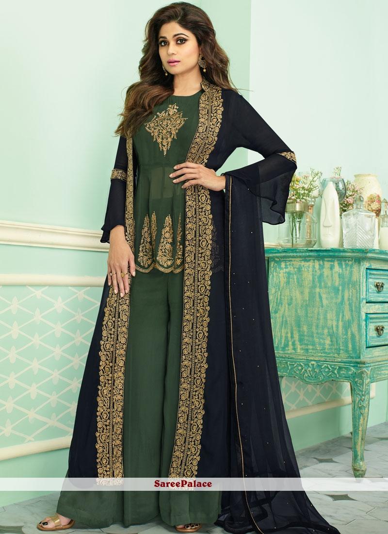 Green Resham Georgette Designer Palazzo Salwar Suit