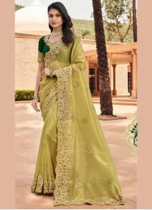 Green Resham Georgette Designer Saree