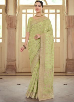 Green Resham Georgette Satin Contemporary Saree