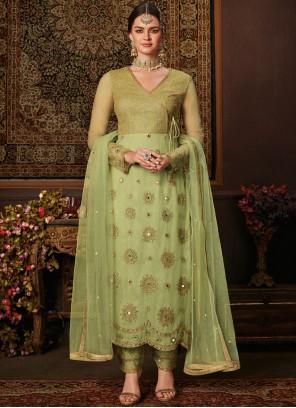 Green Resham Net Designer Salwar Kameez