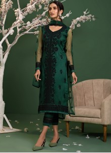 Green Resham Net Pant Style Suit