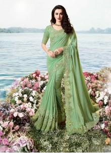 Green Resham Tissue Classic Designer Saree