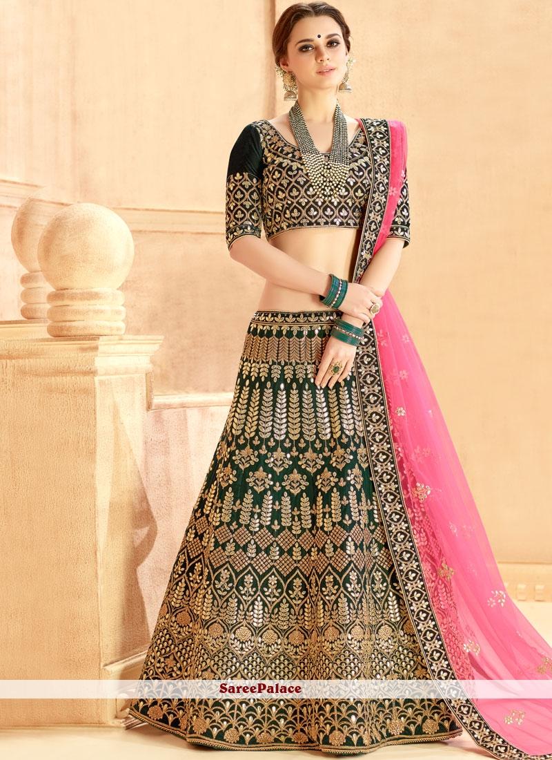 8640fd4e01 Buy Green Resham Velvet Lehenga Choli Online