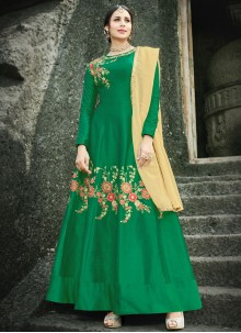 Green Resham Work Art Silk Floor Length Anarkali Suit