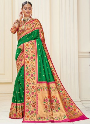 Green Sangeet Banarasi Silk Designer Traditional Saree