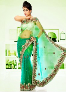 Green Sangeet Hand Embroidery Designer Saree