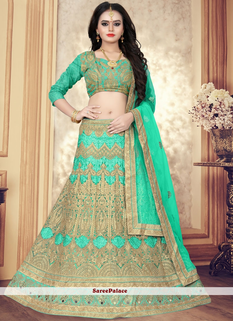 4761865c354 Buy Green Sangeet Net Designer Lehenga Choli Online