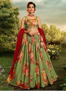 Green Sangeet Organza Lehenga Choli
