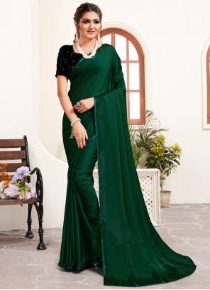 Green Satin Designer Saree