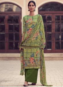 Green Satin Festival Designer Palazzo Salwar Suit