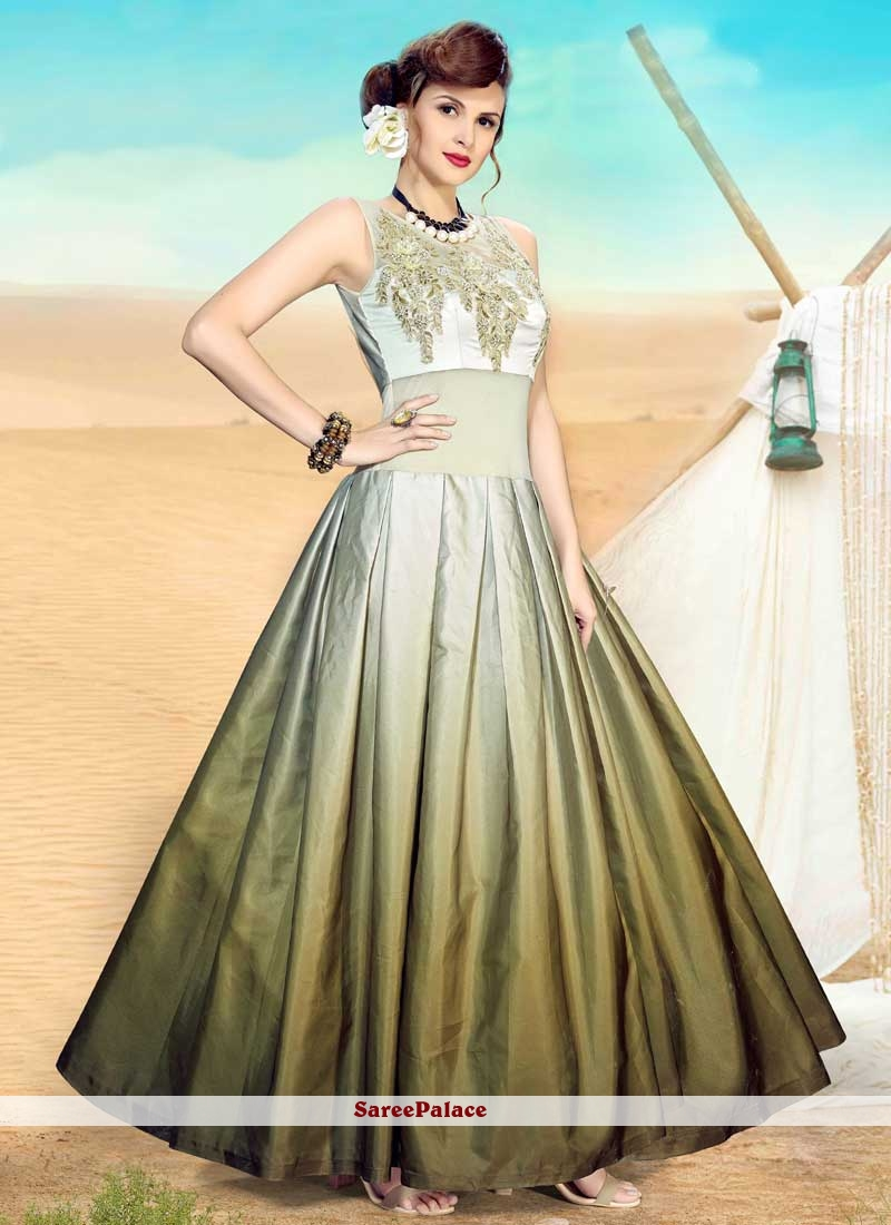 Green Satin Readymade Gown