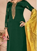 Green Satin Resham Designer Palazzo Suit