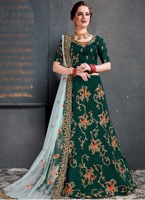 Green Satin Silk Designer Lehenga Choli