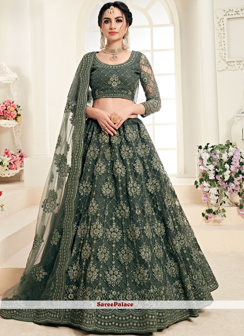 Green Satin Silk Trendy A Line Lehenga Choli