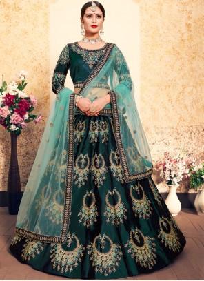 Green Satin Thread Designer Lehenga Choli