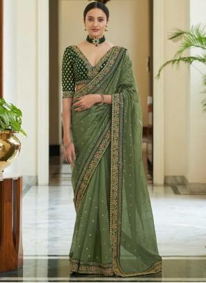 Green Sequins Ceremonial Classic Saree