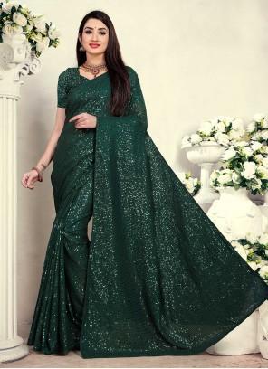 Green Sequins Classic Designer Saree