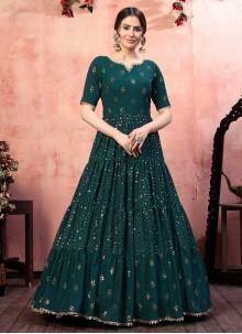 Green Sequins Designer Gown
