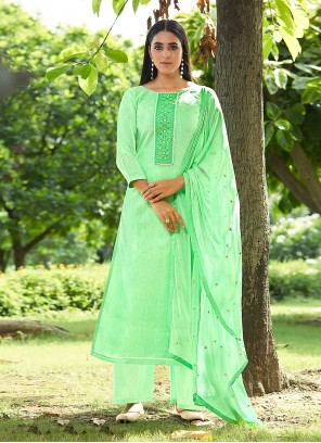 Green Sequins Designer Pakistani Suit