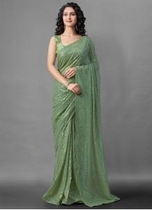 Green Sequins Faux Georgette Designer Saree