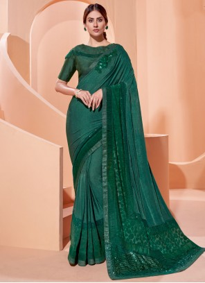 Green Sequins Engagement Traditional Saree