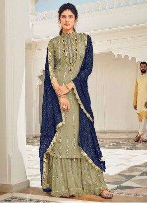 Green Sequins Festival Designer Pakistani Salwar Suit