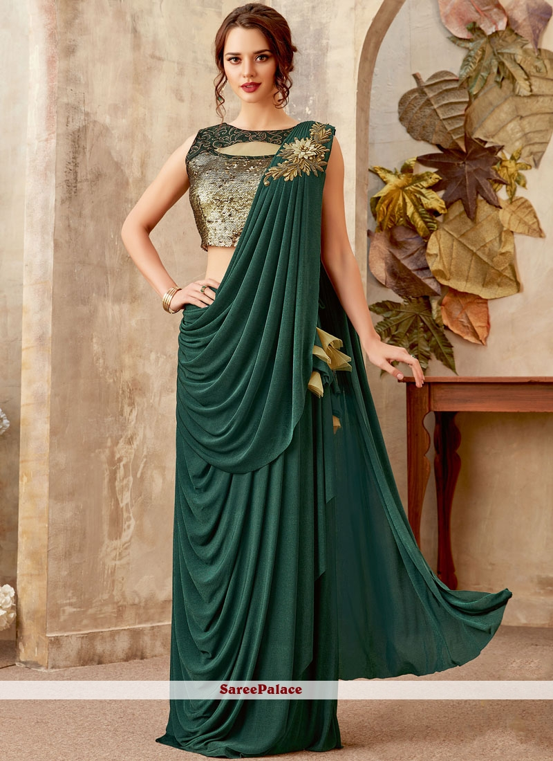 Green Sequins Festival Designer Saree
