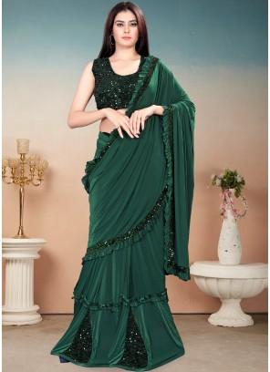 Green Sequins Work Festival Trendy Saree