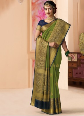 Green Shimmer Weaving Contemporary Saree