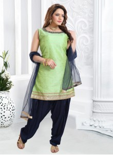 Green Silk Ceremonial Designer Patiala Suit