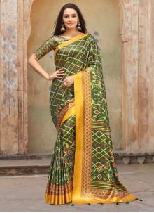 Green Silk Ceremonial Saree