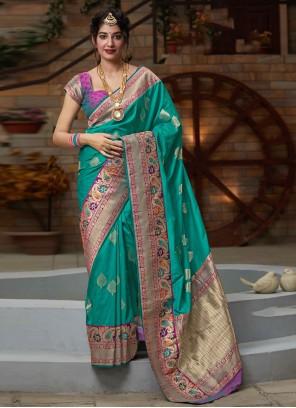 Green Silk Designer Bollywood Saree